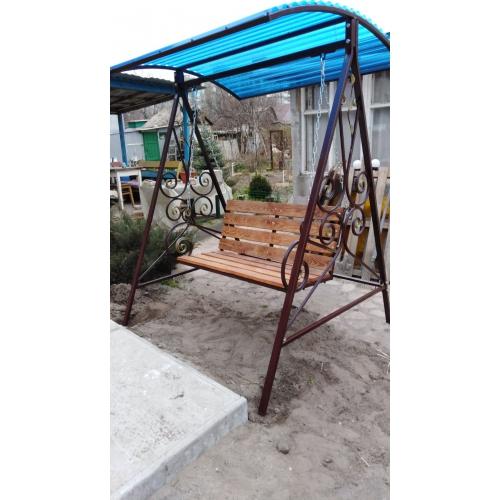 Качель садовая с поликарбонатным навесом